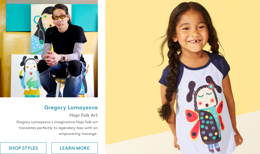 Gregory Lomayesva's imaginative Hopi folk art translates perfectly to legendary tees with an empowering message.