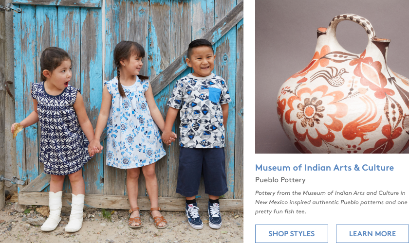 Pottery from the Museum of Indian Arts and Culture in New Mexico inspired authentic Pueblo patterns and one pretty fun fish tee.