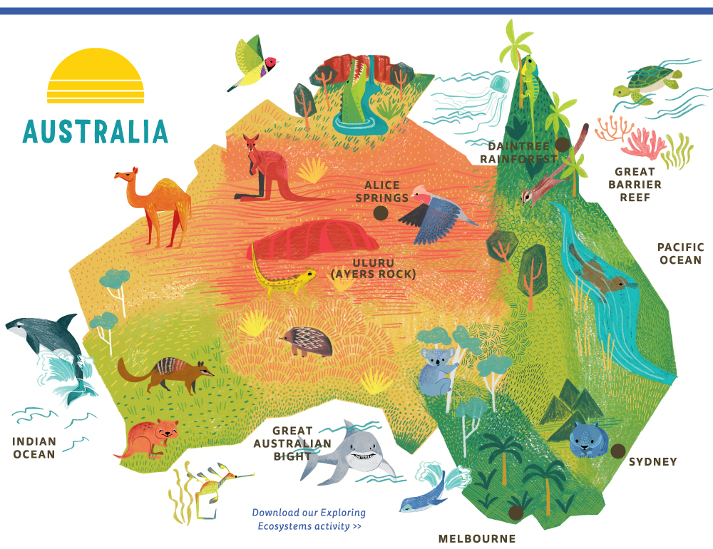 ecosystem-themed map of Australia