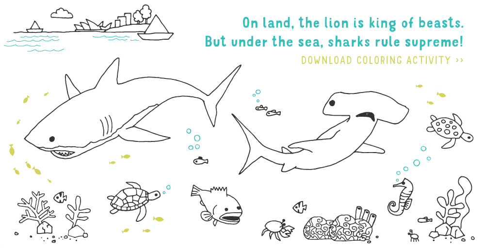 On land, the lion is king of beasts. But under the sea, sharks rule supreme! Download coloring activity
